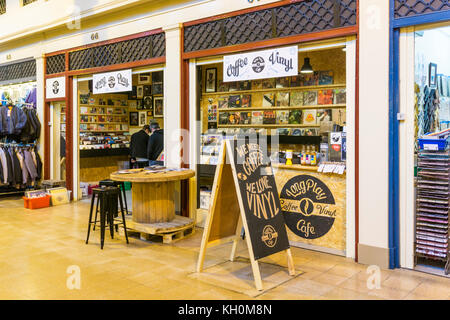 Long Play Cafe coffee house and record store in Grainger Market, Newcastle upon Tyne