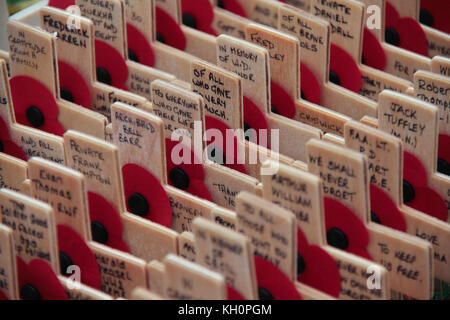 London, UK. 11th Nov, 2017. Thousands of crosses planted at the Fields of Remembrance at Westminster Abbey in London - Stock Photo