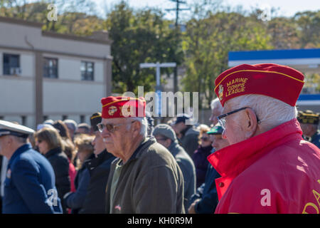 Glen Cove, United States. 11th Nov, 2017. Veteran's Day ceremonies are held every year at the 'Doughboy' statue - Stock Photo