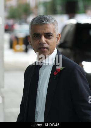 London, UK. 12th November, 2017. Sadiq Khan Mayor of London seen at the Andrew Marr Show at the BBC Studios in London - Stock Photo