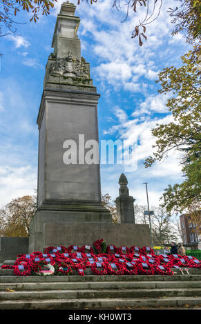 Remembrance Day in Southampton, Hampshire, UK, 12th November, 2017, Red poppies and poppy wreaths laid at the Cenotaph - Stock Photo