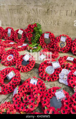 Remembrance Day in Southampton, Hampshire, UK, 12th November, 2017. Red poppies and poppy wreaths laid during Remembrance - Stock Photo