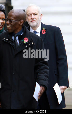 London, UK. 12th Nov, 2017. Jeremy Corbyn arrives for the annual Remembrance Day service through Downing Street - Stock Photo