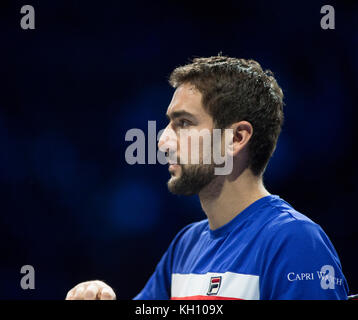 O2, London, UK. 12 November, 2017. Day 1 of the Nitto ATP Finals, evening singles match with Alexander Zverev (GER) - Stock Photo
