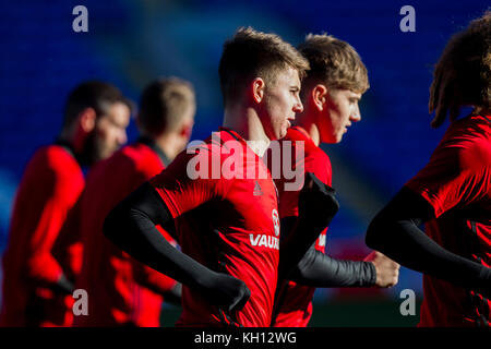 Cardiff, Wales, UK, November 13th 2017. Ben Woodburn of Wales during training at Cardiff City Stadium ahead of the - Stock Photo
