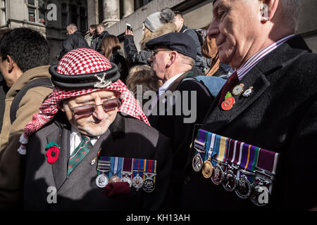London, UK. 12th Nov, 2017. Members and veterans of the armed forces attend the annual Remembrance Sunday service - Stock Photo