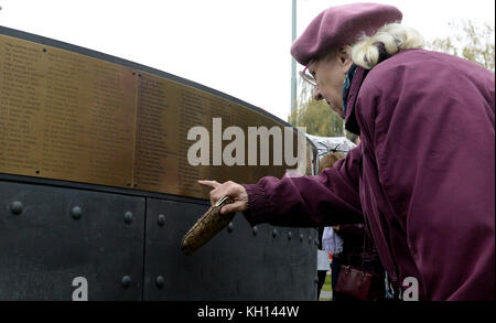 A commemorative plaque for over 2,500 Czechs and Slovaks who served with the Royal Air Force during World War Two - Stock Photo