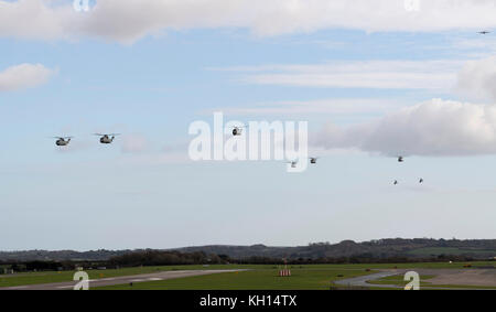 RNAS Culdrose, Cornwall, UK. 13th November, 2017. RNAS Culdrose Aircraft including Merlin MK2 Helicopters, Sea King - Stock Photo