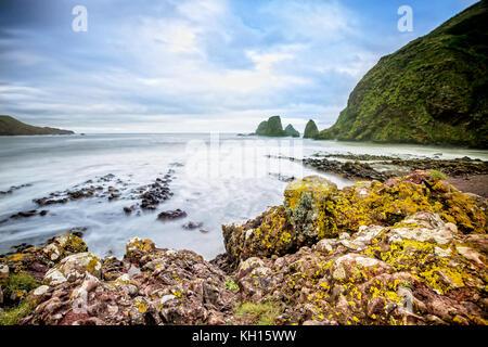 Coastline of Stonehaven in Scotland - Stock Photo