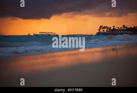 Exotic Beach in Dominican Republic, Punta Cana - Stock Photo