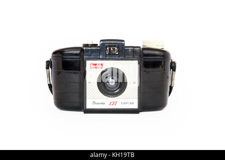 Classic 1950s Kodak Brownie 127 roll film camera, isolated against a white background - Stock Photo
