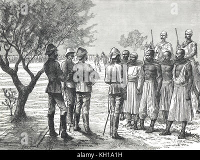 Hicks Pasha examining Arab telegraph wire cutters during a halt in the expeditionary force to Kordofan, 1883 - Stock Photo
