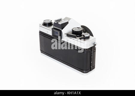 Praktica Super TL1000 35mm roll film SLR camera with 50mm Pentacon lens, 1980s, isolated against a white background - Stock Photo
