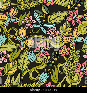 Colorful seamless floral pattern with stylized butterfly and dragonfly. - Stock Photo