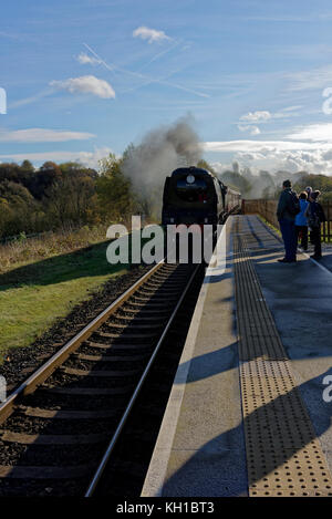 Steam train arriving at platform, passengers waiting behind tactile surface, long shadows, at burrs country park - Stock Photo