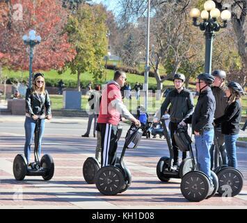 Segway Tour group in Denver - Stock Photo