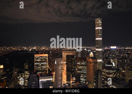 432 Park Avenue and Central Park at Night, taken from the Top of the Rock, July 2017. - Stock Photo