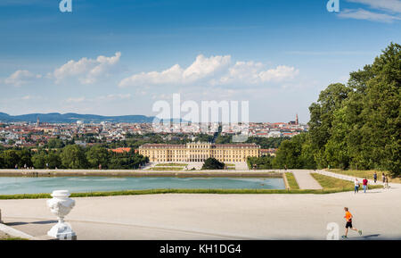 Schonbrunn Palace with the City Skyline Vienna Austria July 10 2017 - Stock Photo
