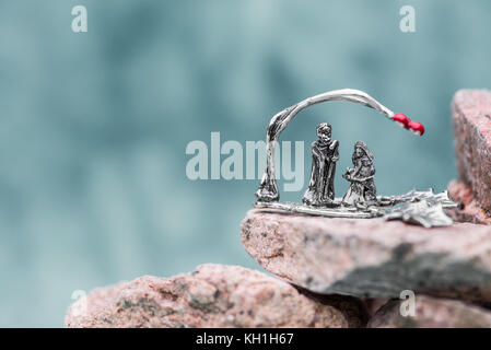 Nativity Scene on blurry background. Christmas symbol - Stock Photo