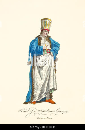 Old illustration of White Eunuch in traditional dresses in 1749. By J.M. Vien, publ. T. Jefferys, London, 1757-1772 - Stock Photo