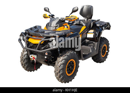 Yellow ATV quadbike isolated on white background with clipping path - Stock Photo