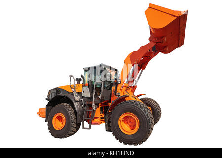 Modern excavator bulldozer with clipping path isolated on white background - Stock Photo
