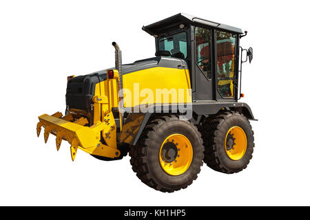 Grader and Excavator Construction Equipment with clipping path isolated on white background - Stock Photo
