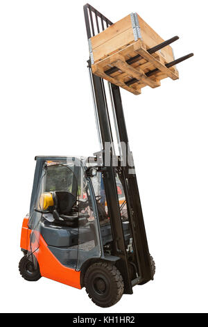 Forklift and wooden load isolated on white background with clipping path - Stock Photo