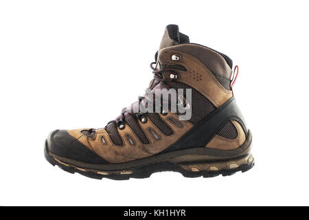 Hiking boots, isolated on white background - Stock Photo
