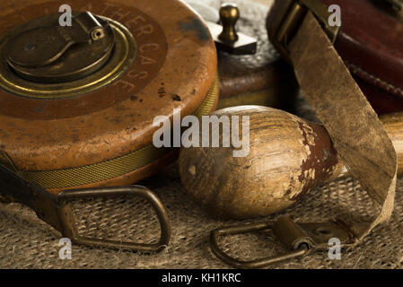 Some old measuring tapes still life - Stock Photo