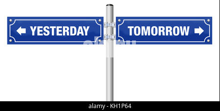 YESTERDAY and TOMORROW, written on two blue signposts - symbol for history, evolution, progress, development and - Stock Photo