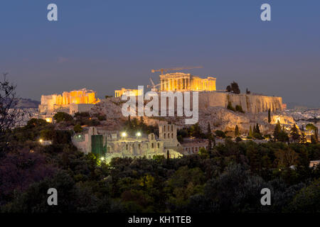 side view of acropolis little before nightfall - Stock Photo