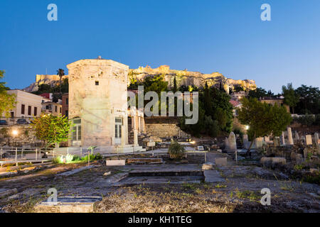 Tower of the winds in roman market, athens, greece - Stock Photo
