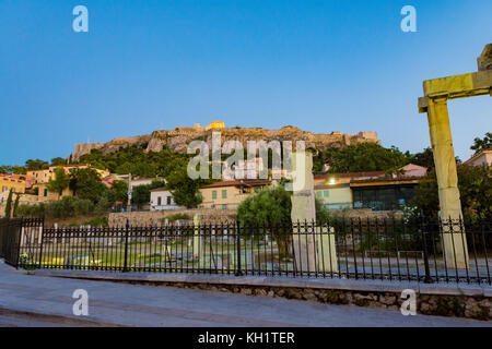 acropolis side view from plaka area - Stock Photo