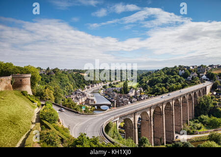 A view over the viaduct, the River Rance,  and the old port of Dinan, Brittany, France. - Stock Photo