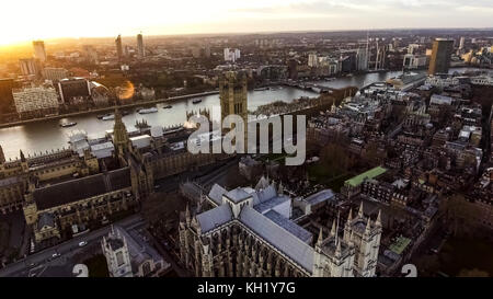Aerial View Photo Iconic English Landmark Big Ben Clock Parliament feat British Flag in City of Westminster on 09 - Stock Photo