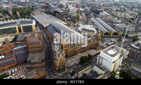 Aerial View of Iconic Architecture and Landmark Kings Cross and St Pancras Railway Stations in London, UK - Stock Photo