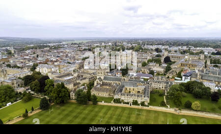 Aerial View University of Oxford Iconic Education Landmark feat. College and Campus. Flying Over around Prestigious - Stock Photo