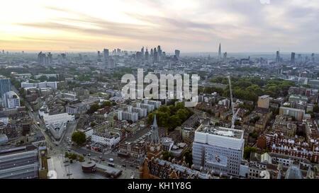 Aerial View London Sunrise Cityscape Iconic Landmarks and King's Cross St Pancras International Station - Stock Photo