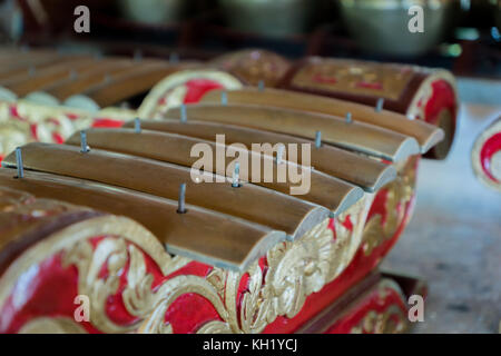 Saron, a gamelan music instrument, a traditional music in Bali and Java, Indonesia - Stock Photo