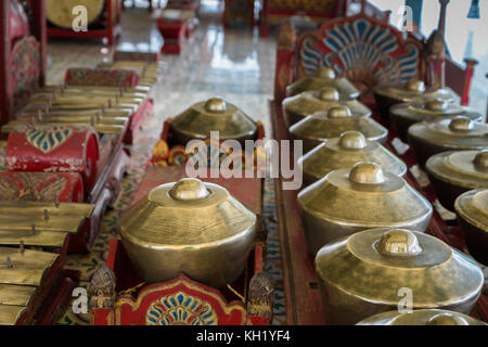 Gamelan, traditional balinese percussive music instruments for ensemble music, traditional music in Bali and Java, - Stock Photo