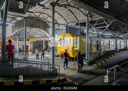 Yogyakarta, Indonesia - October 2017: Train station in Yogyakarta, Jawa, Indonesia. Yogyakarta is located in central - Stock Photo