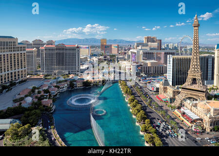 Las Vegas Strip skyline at sunny day - Stock Photo