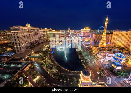 Las Vegas Strip skyline at night - Stock Photo