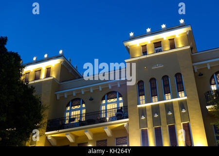 Exterior of a renovated building built in the Eclectic architecture style in Allenby street downtown Tel Aviv Israel