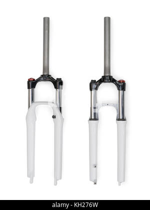 Front and rear view of bicycle fork. Isolated on white, clipping path included - Stock Photo