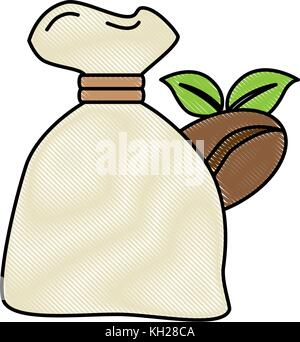 bag coffee seeds and leafs - Stock Photo