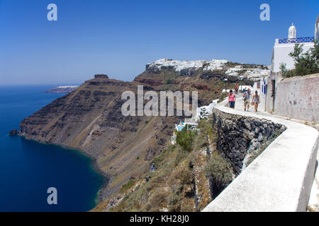 View from crater edge path at Firofestani on Caldera and the village Imerovigli, Santorini, Cyclades, Greece, Mediterranean - Stock Photo