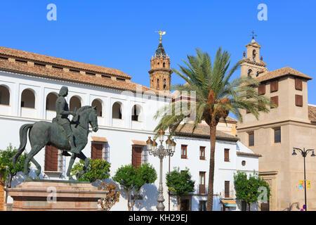 Equestrian statue of King Ferdinand I of Aragon outside the Antequera Municipal Museum (Museo de la Ciudad de Antequera) - Stock Photo