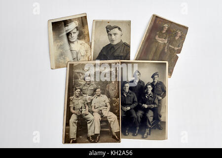 Vintage photograph, world war 2 British army serviceman. English soldiers. 40s photographs - Stock Photo